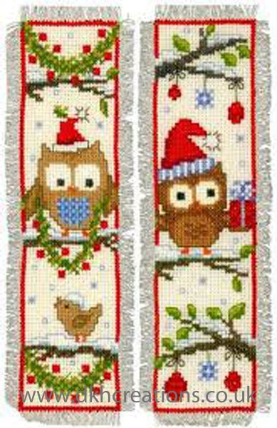 Owls In Santa Hats Christmas Bookmarks (Set of 2) Cross Stitch Kit